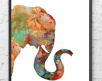 Image Gallery of Abstract Elephant Painting Watercolor