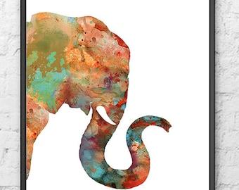 Abstract Elephant Painting Watercolor - klejonka