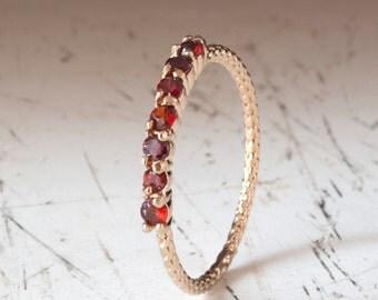 Gold Garnet Ring - half eternity ring