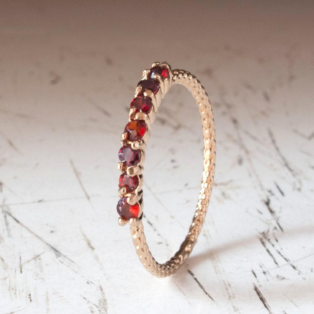 Garnet Bands: Gold Garnet Ring Half Eternity Ring