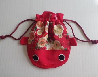 Red Oriental Design Pouch Purse, Japanese Fabric Pouch, Embroidered Fish Purse Pouch, Cosmetic Case