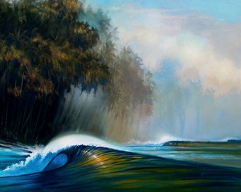"""Primordial Soup Tropical Seascape Giclee, 16""""x20"""" Ready To Hang Canvas Print Of Original Oil Painting, Wade Koniakowsky Ocean Art,"""