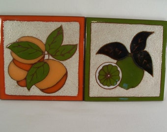 Vintage Trivits Tile Native American Whipple and Sibley Pair     S482