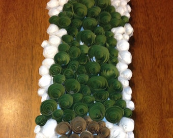 """Rolled Paper Art - 5"""" x 14"""" Tree on snowy background."""