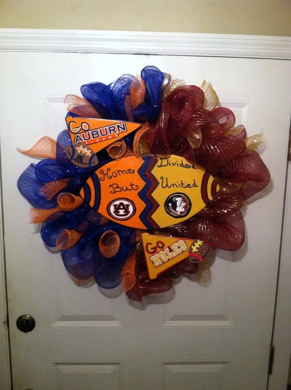 Auburn Tigers/ FSU Seminoles Deco Wreath,Collegiate Home Divided Wreath,Tiger/Noles Deco Wreath,Auburn Wreath,Noles Wreath