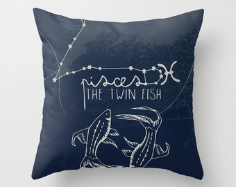 Pisces Zodiac Throw Pillow with Insert