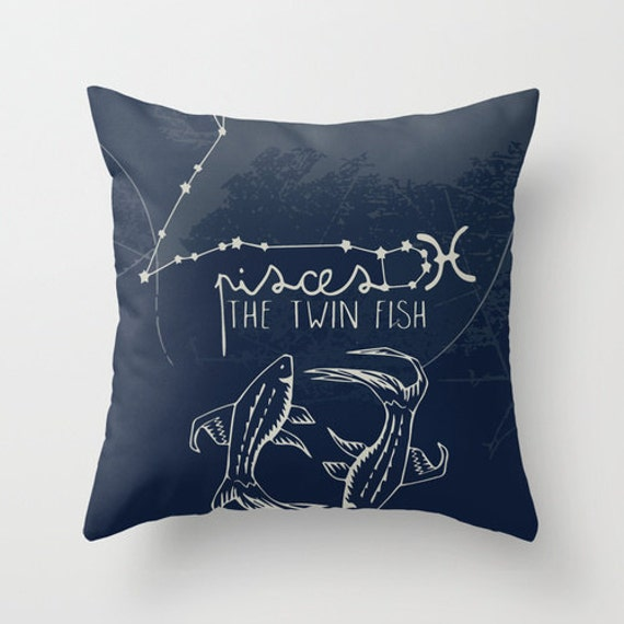 Pisces Zodiac Throw Pillow with Insert by ThisIsStudioSamantha