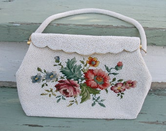 Vintage White micro seed beaded Petit Point Embroidered purse 50s Bridal scalloped gold frame