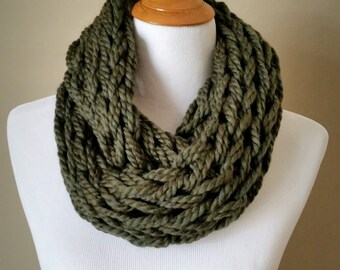 Forest Green Knit Infinity Scarf