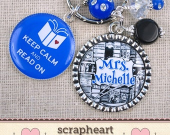 PERSONALIZED Librarian Gift Key Ring, English Teacher Gifts, Keep Calm and Read On Keychain, Cute Book Library Lovers Gifts, COLOR CHOICE