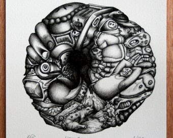 "Original Signed Limited Edition Print. Composite Surreal Drawing. Black and White. on A5 ""HEADSPACE"""