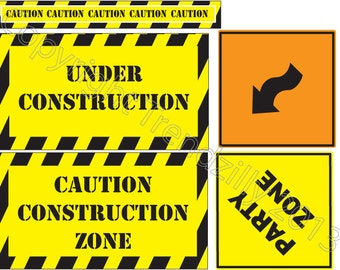 Construction Party Signs Instant Download.  Construction Road signs, Stop signs and Happy Birthday Banner. Construction Birthday Signs.