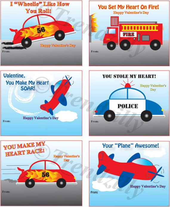 kids printable valentines boy valentines kids valentine air planes race cars fire trucks police cars instant download set of 6 - Boy Valentines