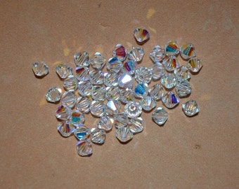 20 - 6mm Genuine Swarovski Crystal Bicone Beads - Clear AB