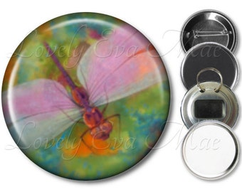 Dragonfly Pocket Mirror, Compact Mirror, Dragonfly Magnet, Dragonfly Bottle Opener Key Ring, Dragonfly Keychain, Pin Button, Pastel Pink