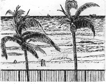 View from the Patio - Original Etching & Engraving, Hand-printed, Limited Edition