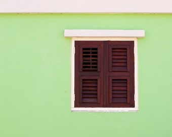 Shuttered Window, Green House, Island Cottage, Willemstad, Curacao, Caribbean, Fine Art Photograph for Your Home and Office Wall Decor