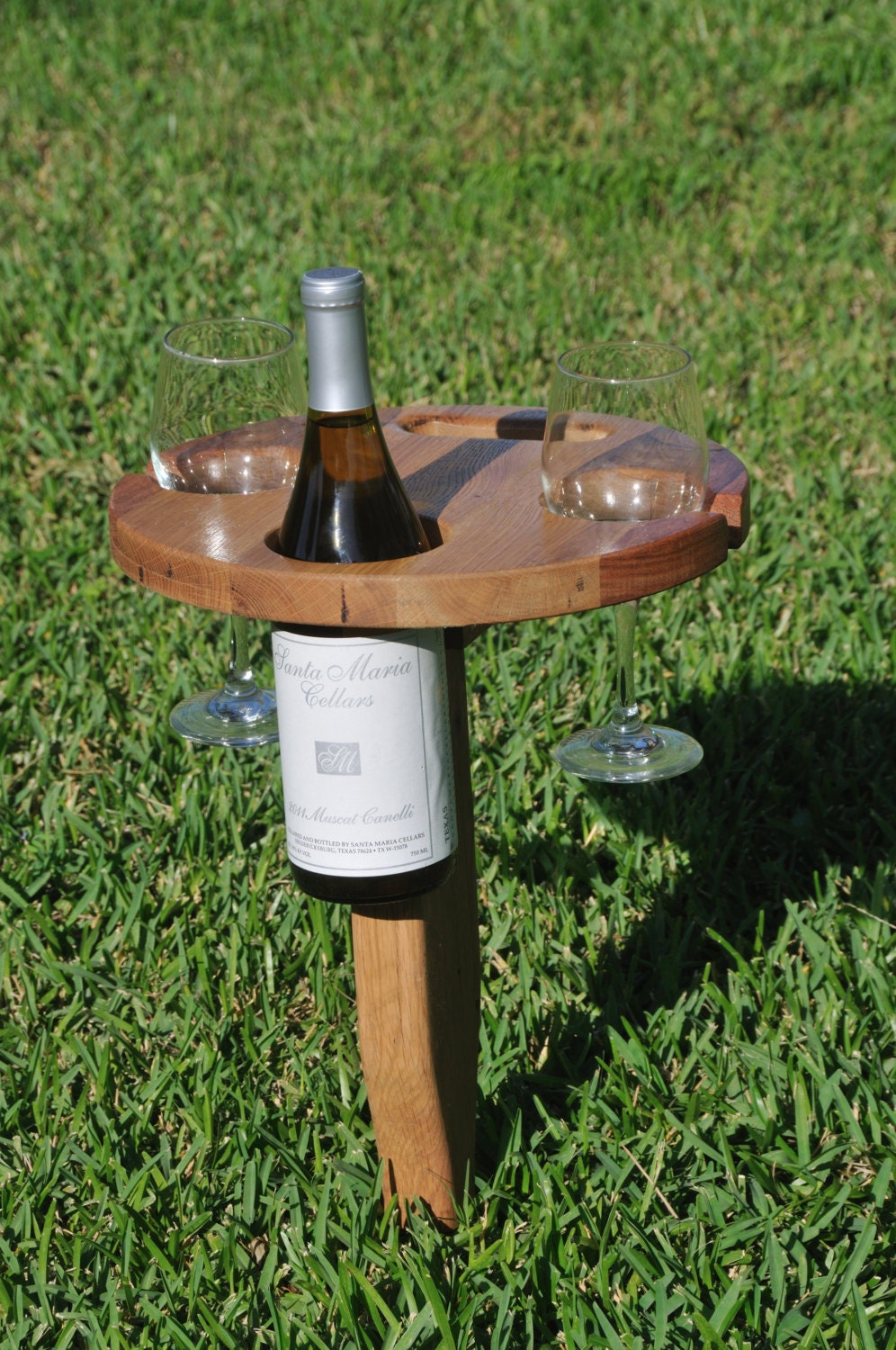 Folding Outdoor Wine Table With Carry Handle