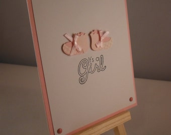 Baby girl bootie card