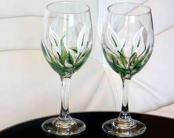 Hand Painted Wine Glass Calla Lily White Flowers Hand Painted Glassware Stemware Custom Hand Painted Wine Glasses Painted Glass Floral