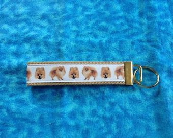 Pomeranian wristlet key fob holder keychain
