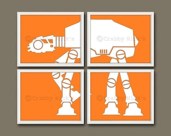 8x10 (4) Star Wars Prints - Nursery Art, Children's Art, Star Wars Art, Star Wars Prints, The Empire Strikes Back - AT-AT Walker