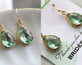 Gold Prasiolite Earrings Light Green Wedding Jewelry Prasiolite Green Bridesmaid Earrings Gift Bridal Jewelry Personalized Gift Under 25