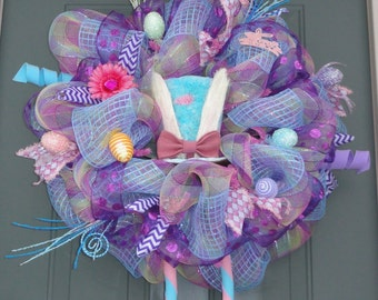 Blue and Pink  RAZ Easter Bunny with Legs Wreath, Easter Wreath, Spring Wreath, Whimsical Wreath