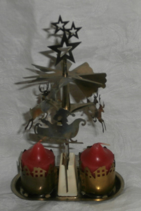 Vintage Christmas Swedish angel chime inspired brass candle