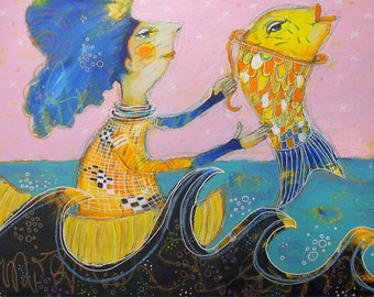 You and I and I and you - original mixed media painting - by Piarom raw modern art