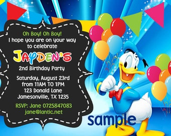 Donald Duck Printable Invitation Minnie Mouse Goofy Mickey