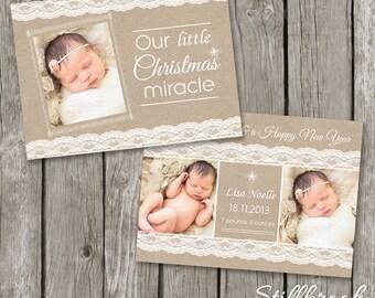 Birth Announcement Template - Christmas Card Birth Announcement - Newborn Announcement - Kraft Lace Christmas Card - BA01