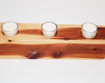 Handcrafted Cedar block style recycled wood candle holder