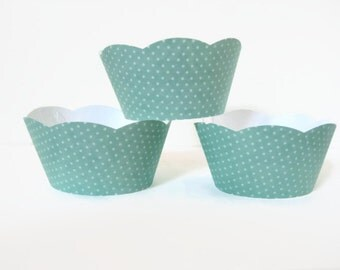 12 Aqua Polka Dot Cupcake Wrappers, Baby Shower Cupcake Wrappers, Birthday Cupcake Wrappers