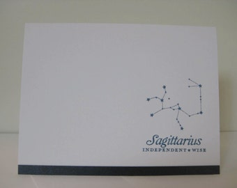 Sagittarius Zodiac Birthday Card, Leo Zodiac Constellation Card, Astrology Card