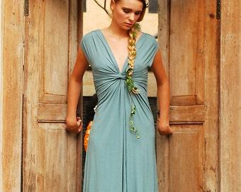 Ocha Knot Front Summer Dress in Ocean for Womens Boho Chic Fashion