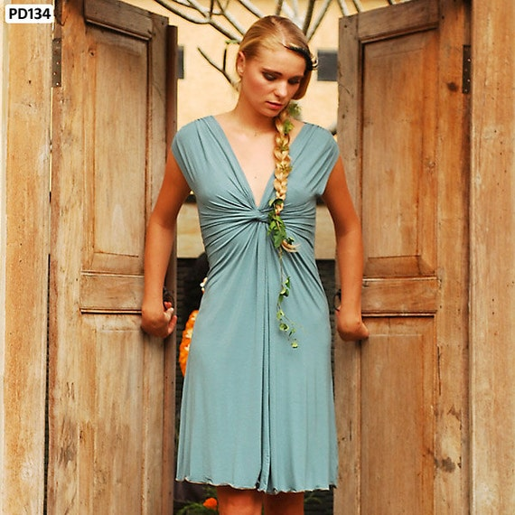 Ocha Knot Front Dress in Ocean for Womens Boho Chic Fashion