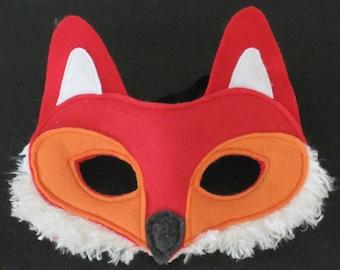 Fox Mask, red and orange felt, white furry fleece