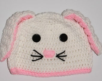 15% Off With Coupon Code DISCOUNT15 Crochet Bunny Hat and Diaper Cover, Bunny Hat, Bunny Beanie, White Bunny Hat