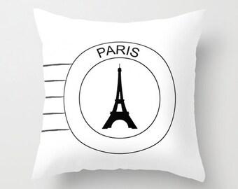 Eiffel Tower Pillow - Decorative Pillows - Velveteen - Pillow Cover - Paris Pillow - Paris Cushion Cover - Black and White Pillow Cover