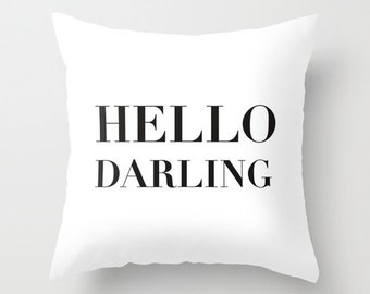 Velveteen Pillow - Hello Darling - Dorm Pillow - Teen Pillow - Girls Pillow - Teen Decor - Girls Bedroom Ideas - Dorm Decor - Dorm Bedding