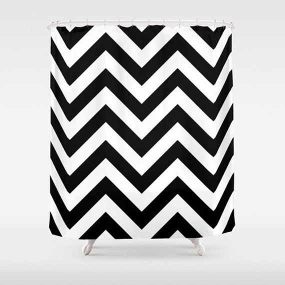 shower curtain black and white chevron shower curtain black
