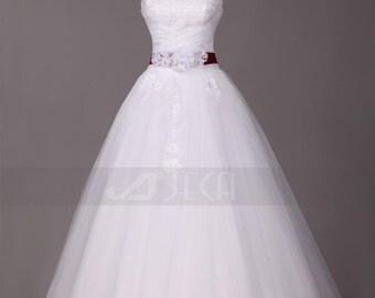 Princess Wedding Dress Available with Detachable Burgundy Sash W875