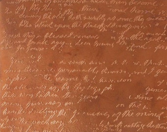 Etched Copper Sheet, Handwriting, 24 gauge, 4 x 3 inches