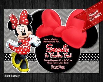 DIGITAL Black Minnie Mouse Invitation for Minnie Birthday - Red Minnie bow and chevron patterns