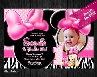 DIGITAL Baby Minnie Photo invite Pink zebra print Minnie Mouse Birthday or Baby Shower - DIY Printable file