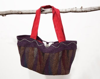 Felted Wool Sweater Purse Multi-Colored