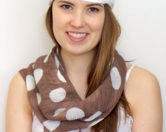 Brown and white scarf, polka dot scarf, summer scarf, chocolate Scarf, Light scarf, Women's Fashion Accessory, Cozy scarf, Dotted scarf.