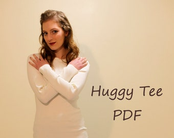 T-shirt Sewing Pattern; Tight fitting stretchy knit Tee shirt ; Body hugging Tee shirt ;PDF Sewing Patterns