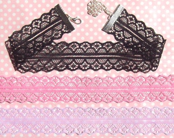 Pretty lace chokers in a choice of black pink and lilac